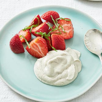 Strawberries with vanilla cashew cream
