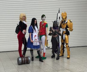 Harley Quinn American McGees Alice Joker Robin Shredder and Destiny Titan at London Super Comic Convention 2016 2