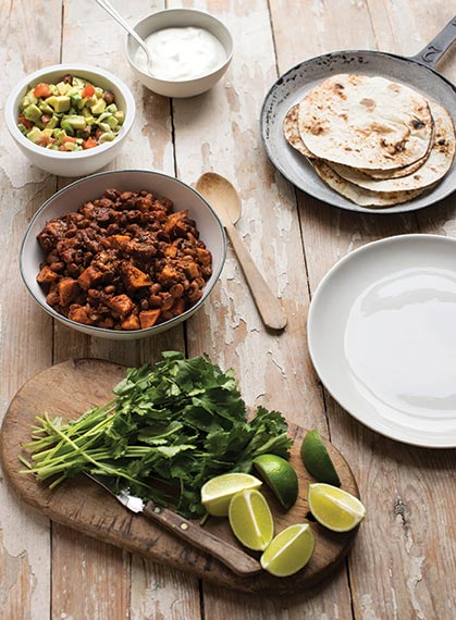 SWEET POTATO AND CHIPOTLE BEAN TACOS WITH CHUNKY AVOCADO SALSA