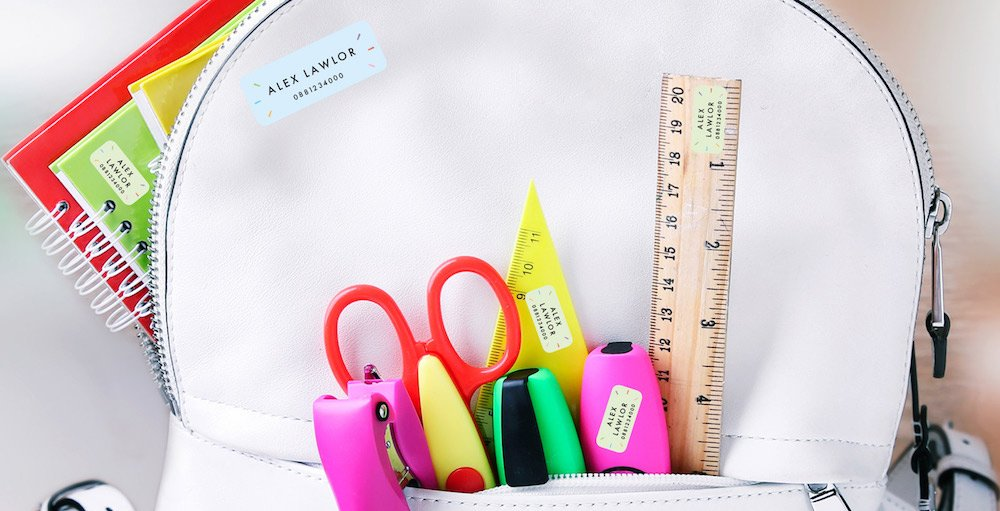Back to School guide labelling stationary